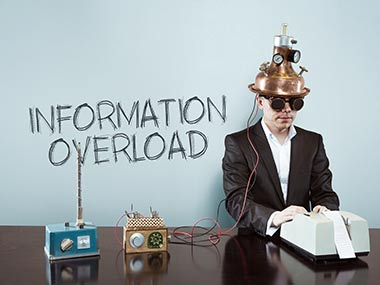 Man with device on head 'information overload'